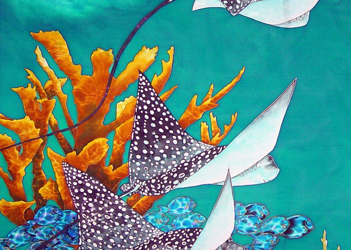Eagle Ray Greeting Card featuring the painting Under The Bahamian Sea by Daniel Jean-Baptiste