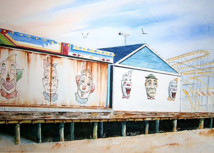 Clowns Greeting Card featuring the painting Under The Boardwalk by Brian Degnon