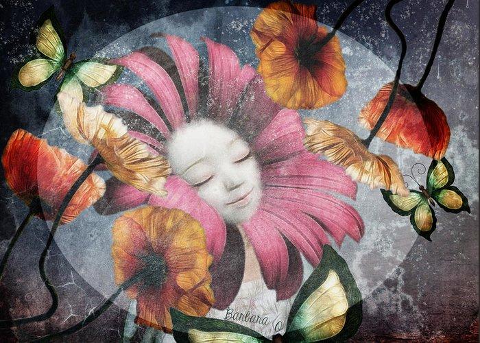 Flowers Greeting Card featuring the digital art Under The Bubblemoon by Barbara Orenya