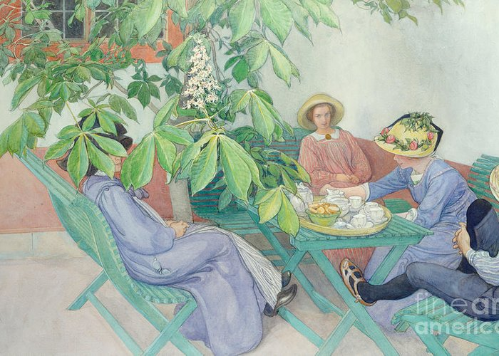 Women; Female; Group; Chatting; Tea; Drinking; Patio; Outdoors; Al Fresco; Biscuits; Straw Greeting Card featuring the painting Under The Chestnut Tree by Carl Larsson