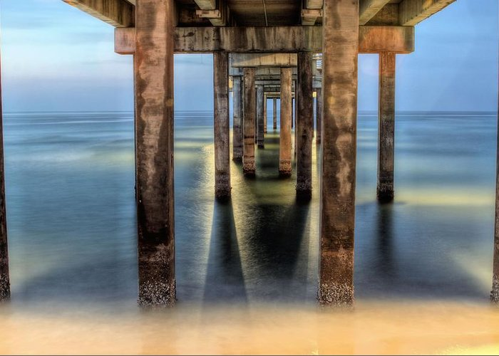 Gulf Shores Greeting Card featuring the photograph Under The Gulf Shores Pier by JC Findley