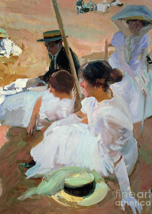 North West; Spain; Boater; Gloves; Hat; Beach Scenes Greeting Card featuring the painting Under The Parasol by Joaquin Sorolla y Bastida