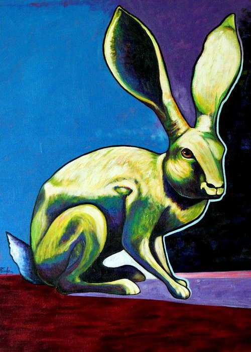 Hare Greeting Card featuring the painting Under The Radar Jackrabbit by Joe Triano