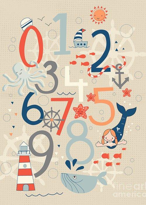 Numbers Digital Art Greeting Cards
