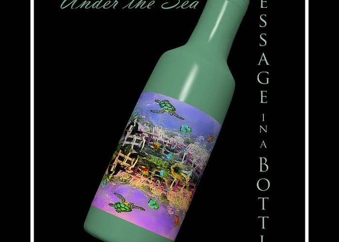 Skeletons Greeting Card featuring the digital art Under The Sea Message In A Bottle by Betsy Knapp