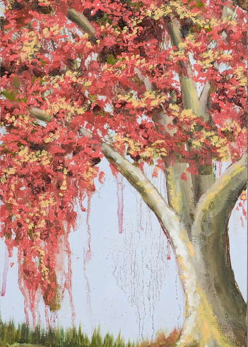 Tree Greeting Card featuring the painting Under The Tree With Gold Leaf By Vic Mastis by Vic Mastis