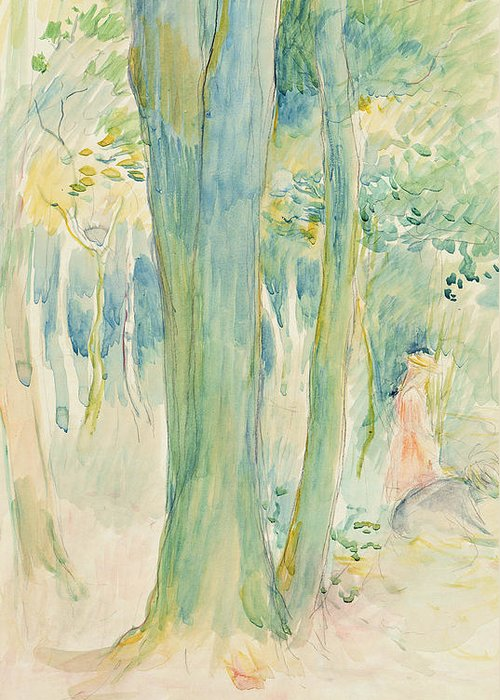 Tree Trunks; Woods; Wooded; Woodland; Forest; Canopy; Female; Kneeling; Gathering; Picking; Foraging; Shade; Shaded; Greenery; Berthe Morisot Greeting Card featuring the painting Under The Trees In The Wood by Berthe Morisot