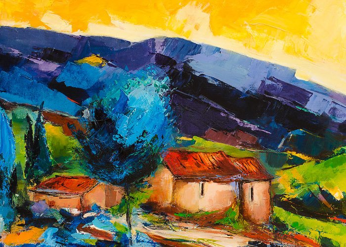 Tuscany Greeting Card featuring the painting Under The Tuscan Sky by Elise Palmigiani
