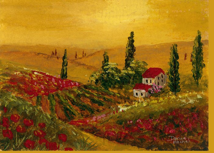 Sunset Greeting Card featuring the painting Under The Tuscan Sun by Darice Machel McGuire