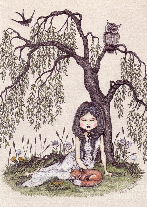 Under the willow tree greeting card for sale by snezana kragulj illustration greeting card featuring the drawing under the willow tree by snezana kragulj m4hsunfo