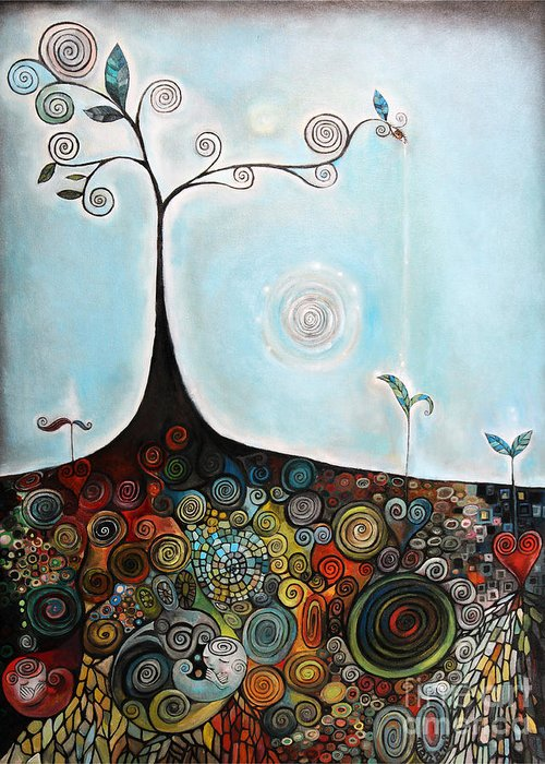 Tree Greeting Card featuring the painting Under World by Manami Lingerfelt