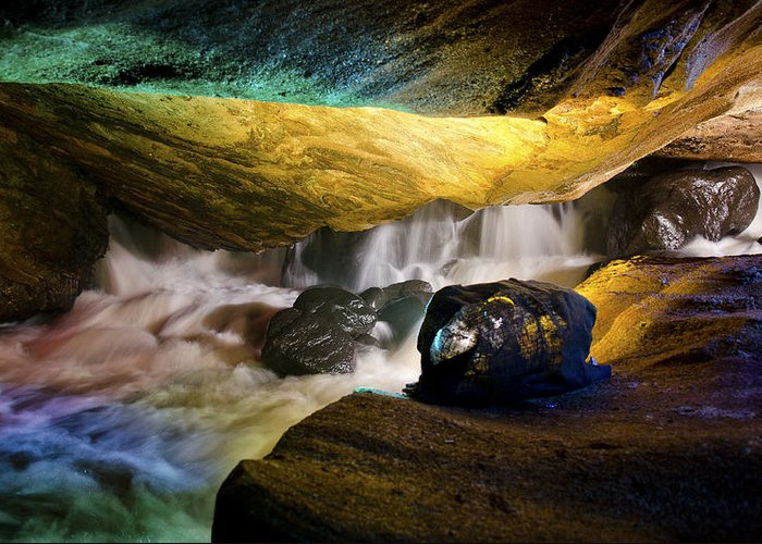 Cave Greeting Card featuring the photograph Underground Waterfall 2 by Mark Papke