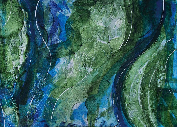 Ocean Greeting Card featuring the painting Underwater Galaxy by Julie Acquaviva Hayes