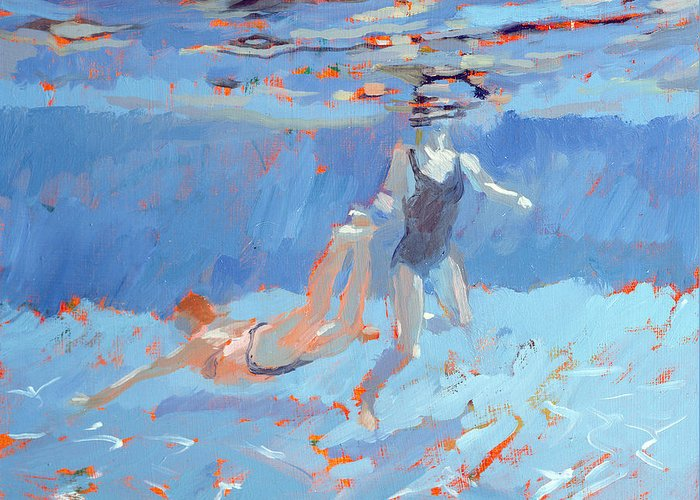 Sports And Pastimes Greeting Card featuring the painting Underwater by Sarah Butterfield