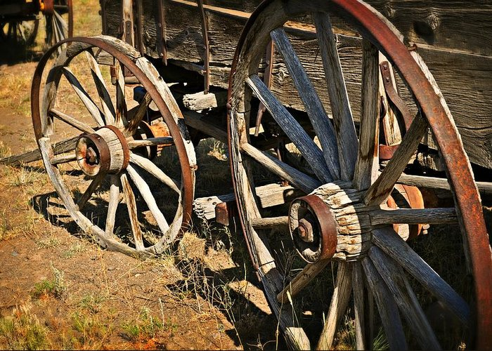 Wagon Greeting Card featuring the photograph Unequal Wheels by Marty Koch