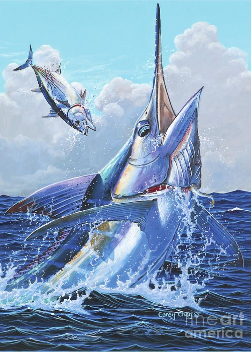 Marlin Greeting Card featuring the painting Unexpected Off0093 by Carey Chen