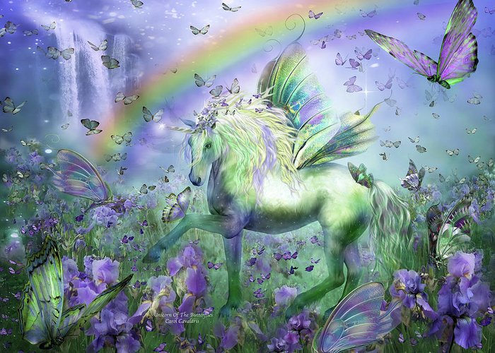 Unicorn Greeting Card featuring the mixed media Unicorn Of The Butterflies by Carol Cavalaris