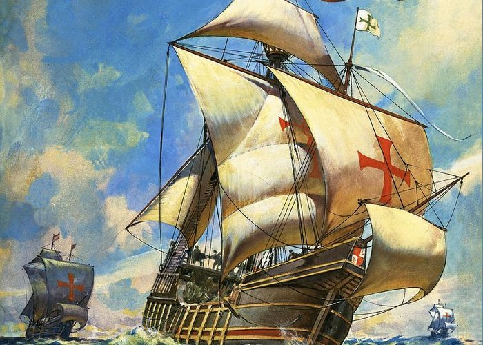 Sailing Ship Greeting Card featuring the drawing Unidentified Sailing Ships by Andrew Howat