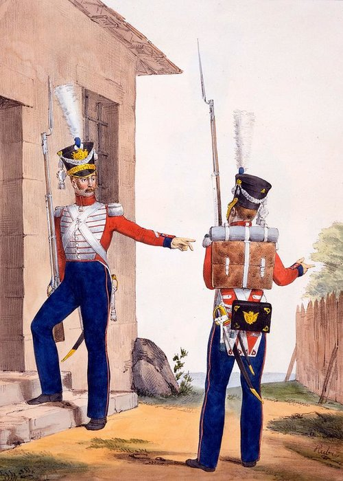 Uniform Greeting Card featuring the drawing Uniform Of The 8th Infantry Regiment by Charles Aubry