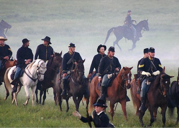 American Greeting Card featuring the photograph Union Cavalry On The March - Perryville Ky by Thia Stover