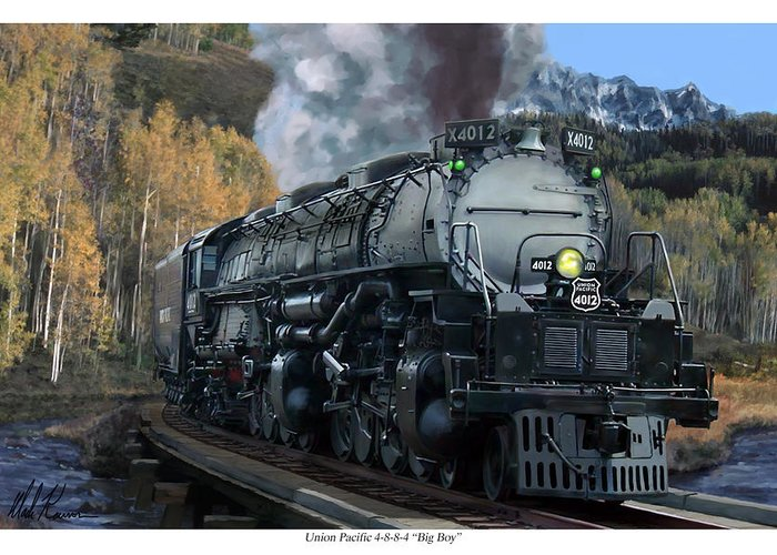 Railroad Greeting Card featuring the painting Union Pacific 4-8-8-4 Big Boy by Mark Karvon