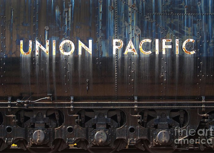 Railroad Greeting Card featuring the photograph Union Pacific - Big Boy Tender by Paul W Faust - Impressions of Light