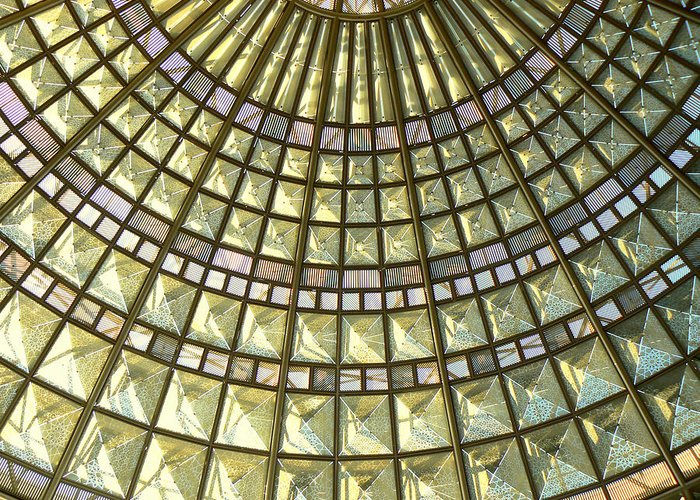 Geometric Abstract Greeting Card featuring the photograph Union Station Skylight by Karyn Robinson