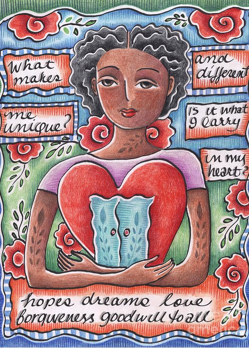 Heart Greeting Card featuring the mixed media Unique by Elaine Jackson