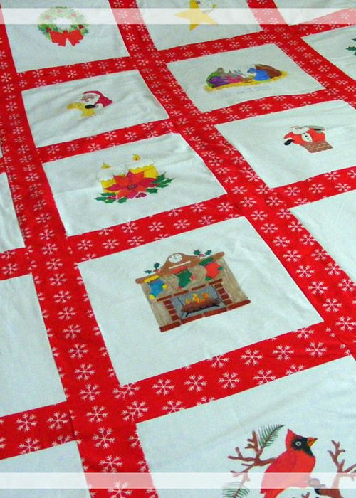 Unique Quilt With Christmas Season Images Greeting Card featuring the tapestry - textile Unique Quilt With Christmas Season Images by Barbara Griffin