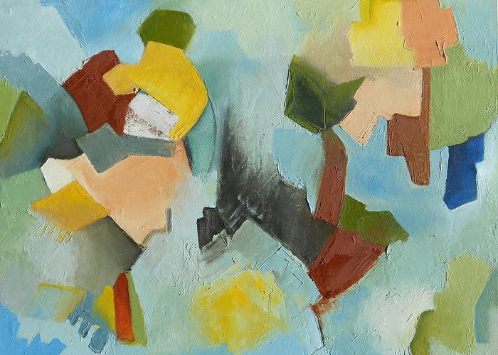 Abstract Oil Painting Greeting Card featuring the painting Uniquity by Danielle Nelisse