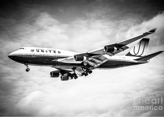 747 Greeting Card featuring the photograph United Airlines Boeing 747 Airplane Black And White by Paul Velgos