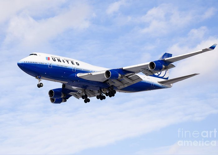 747 Greeting Card featuring the photograph United Airlines Boeing 747 Airplane Flying by Paul Velgos