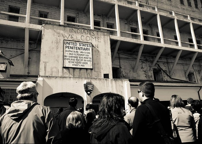 Alcatraz Greeting Card featuring the photograph United States Penitentiary by Zina Zinchik