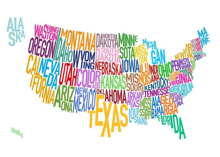 Usa Map Greeting Card featuring the digital art United States Text Map by Michael Tompsett