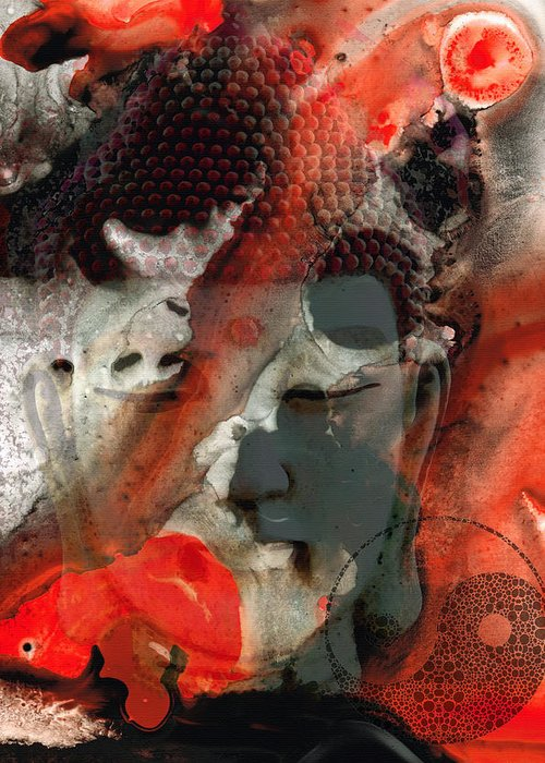 Buddha Greeting Card featuring the painting Universal Qi - Zen Black And Red Art by Sharon Cummings