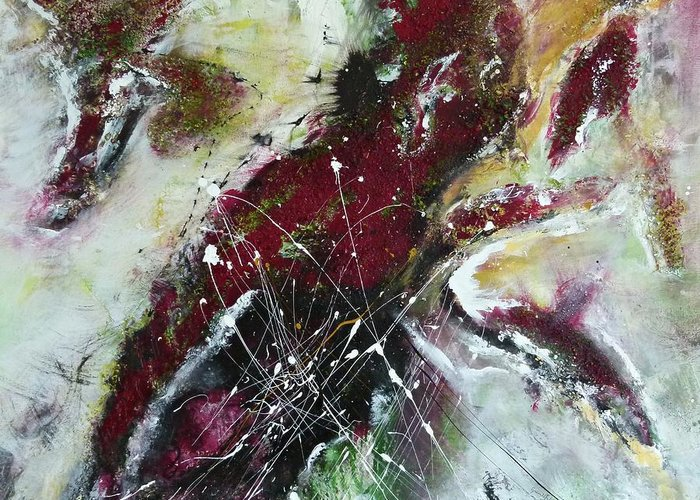 Painting Greeting Card featuring the painting Universe- Abstract Art by Ismeta Gruenwald