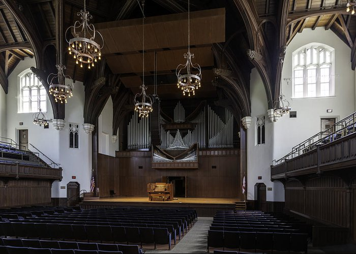 University Auditorium Greeting Card featuring the photograph University Auditorium And The Anderson Memorial Organ by Lynn Palmer