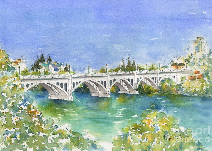 Impressionism Greeting Card featuring the painting University Bridge by Pat Katz