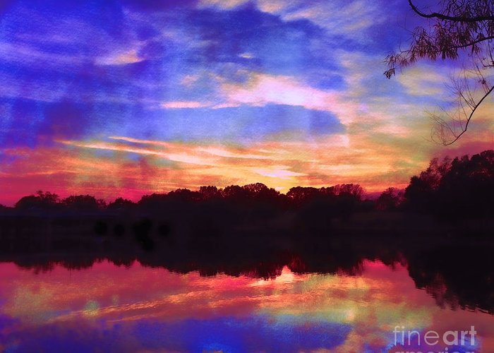Twilight Greeting Card featuring the photograph University Lakes At Twilight by Judi Bagwell