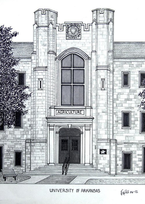 University Of Arkansas Pen And Ink Drawing Greeting Card featuring the drawing University Of Arkansas by Frederic Kohli