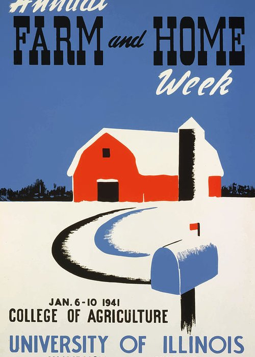 Vintage Greeting Card featuring the painting University Of Illnois Farm And Home Week by American Classic Art