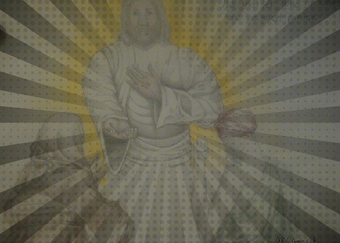 Jesus Greeting Card featuring the drawing Unlimited Mercy by Edward Cormier Jr