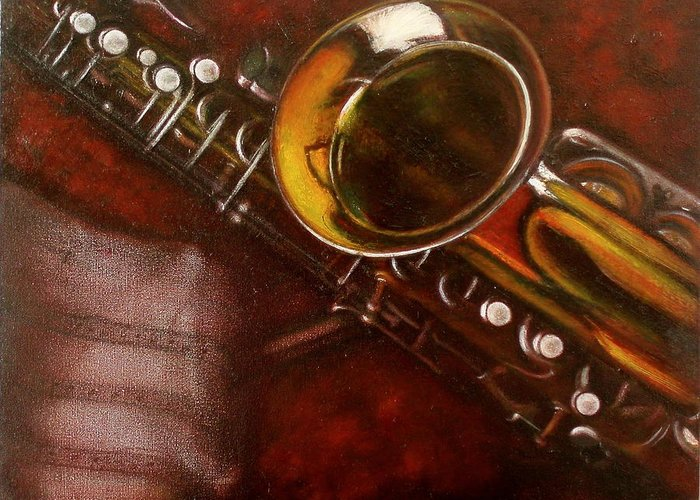Still Life Greeting Card featuring the painting Unprotected Sax by Sean Connolly