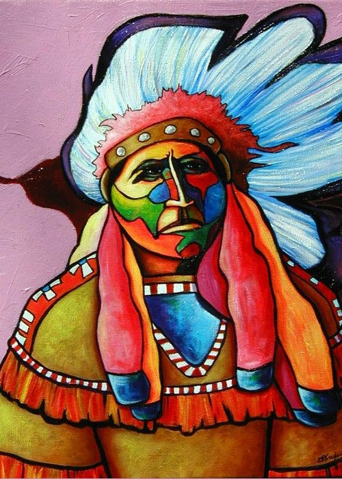 American Indian Greeting Card featuring the painting Until I'm Breathless by Joe Triano