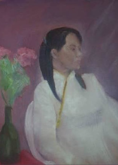 Woman Greeting Card featuring the painting Untitled #2 by Sheila Mashaw