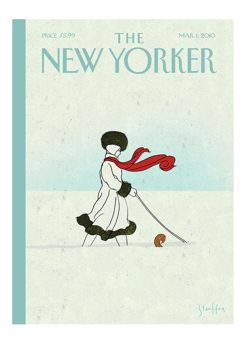 Snow Greeting Card featuring the painting New Yorker March 1st, 2010 by Brian Stauffer