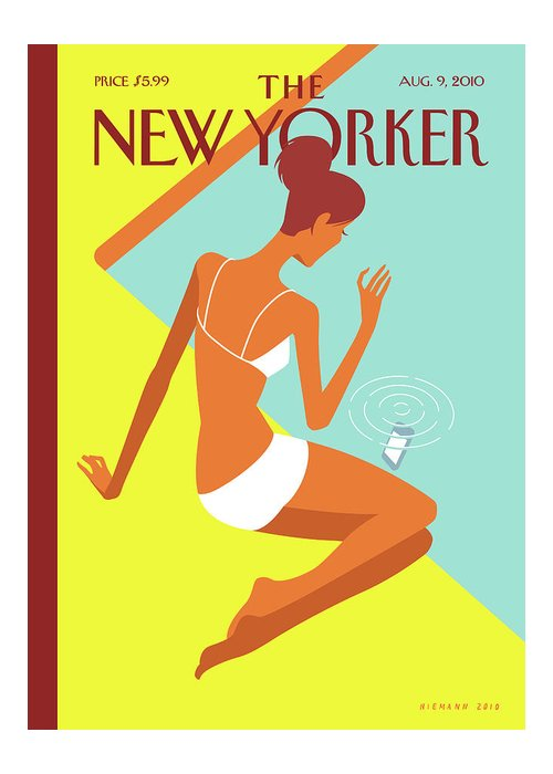 Pool Greeting Card featuring the painting New Yorker August 9th, 2010 by Christoph Niemann