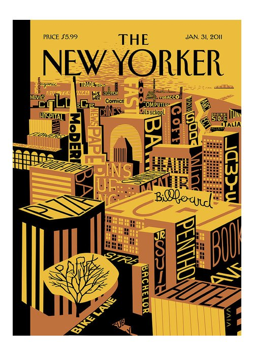Skyline Greeting Card featuring the painting New Yorker January 31st, 2011 by Frank Viva