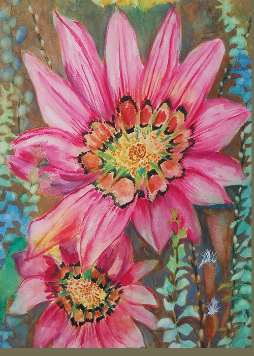 Abstract Floral Greeting Card featuring the painting Untitled by Henny Dagenais