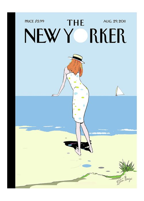 Beach Greeting Card featuring the painting New Yorker August 29th, 2011 by Istvan Banyai